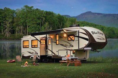 travel trailer at campsite